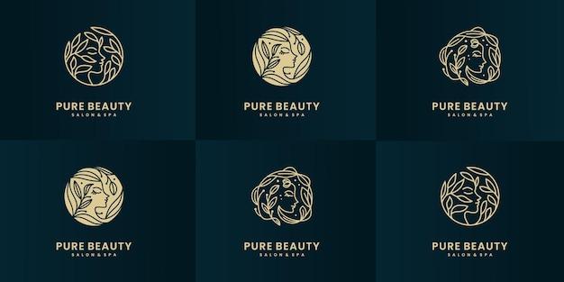 ビューティースパの女性のロゴデザインコレクションのセットです。