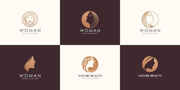 아름다움 여자 얼굴 및 헤어 살롱 로고 디자인의 세트