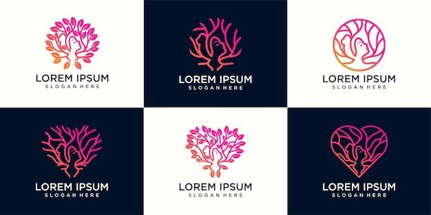 Набор красоты лицо женщины в листьях, на дереве и в ветках. векторный шаблон дизайна женского логотипа.