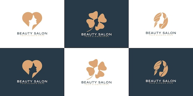 スキンケア、サロン、スパのための美容女性のロゴデザインのインスピレーションのセット、