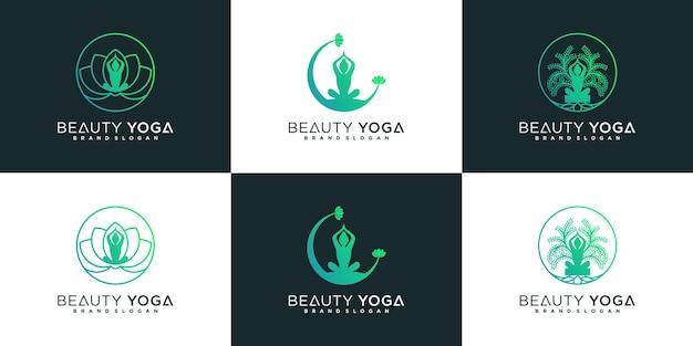 Набор дизайна логотипа бьюти-йоги с современным штриховым рисунком и крутым градиентом premium векторы