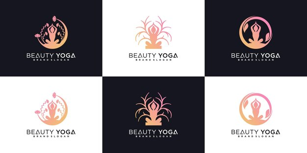 Набор дизайна логотипа красоты йоги с концепцией женской медитации на природе и визитной карточкой premium векторы