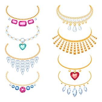 宝石と美しい黄金のネックレスのセット。