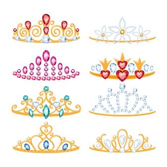 宝石と美しい黄金のティアラのセットです。