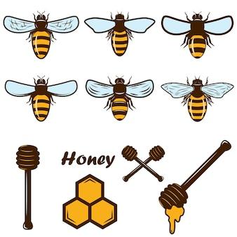 Набор иконок пчелы и меда. элемент дизайна для плаката, карты, этикетки, знака, карты, баннера. образ