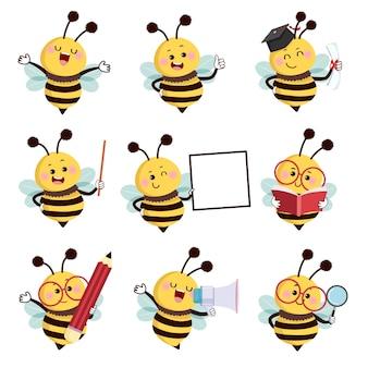 さまざまなポーズの蜂のマスコットキャラクターのセット