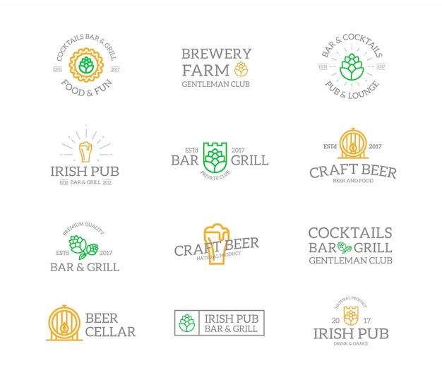 ビールとアルコールのロゴの組み合わせのセット。