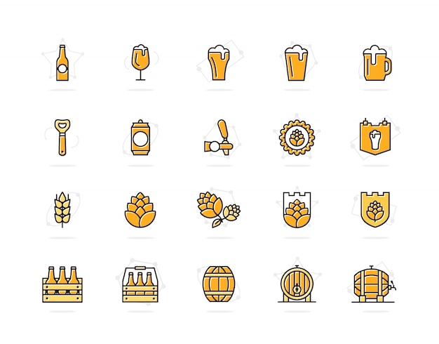 ビールとバーの色付きの線アイコンのセット。アルコール、ボトル、マグカップ、大麦など。