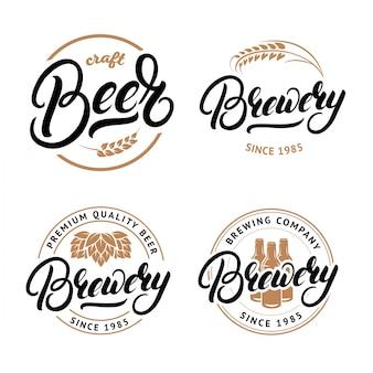 Набор пива и пивоварни рукописные надписи логотип