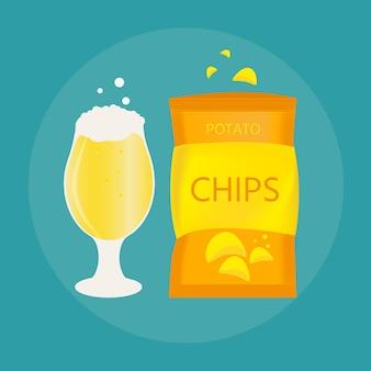 평평한 스타일로 만든 맥주잔과 스낵 세트. 바삭한 감자칩을 곁들인 가벼운 맥주. 배너, 포스터, 레스토랑 및 펍 메뉴에 대한 벡터 그림입니다.