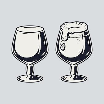 フォームレトロバーとパブメニューとビールジョッキのセット。バイエルンの10月の祭りのためのメガネのヒント