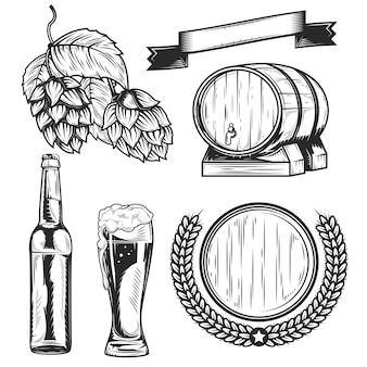 独自のバッジ、ロゴ、ラベル、ポスターなどを作成するためのビールの要素のセット。
