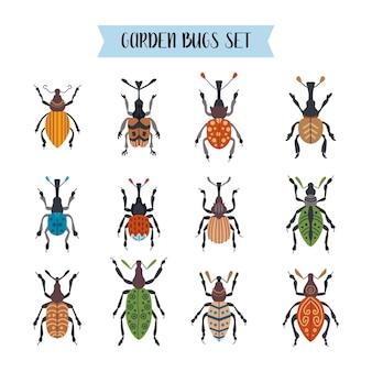 고립 된 딱정벌레의 집합입니다. 귀여운 만화 곤충의 컬렉션입니다. 다른 버그