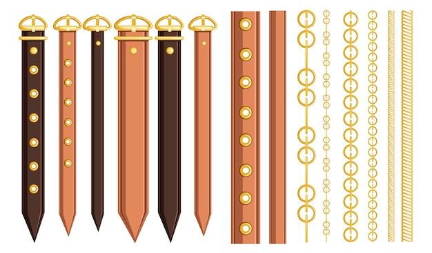 Комплект ремня из кожи и металлических элементов цепочка и плетение.