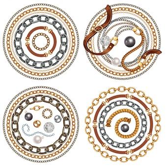 Комплект ремней и золотых и серебряных цепочек
