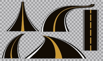 Set of Bending roads and highways vector illustrations