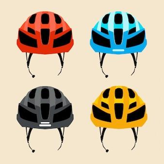 異なる色の自転車用ヘルメットのセット