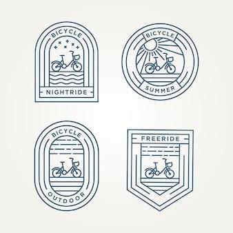 自転車ミニマリストラインアートバッジアイコンロゴベクトルイラストデザインのセット