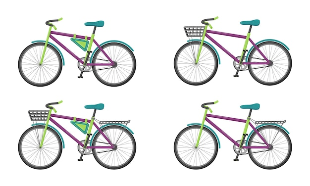 さまざまな要素を持つ自転車のセット。フラットスタイルの都市交通。分離されました。