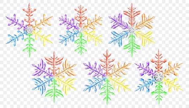 투명한 배경에 격리된 lgbt 색상의 크고 복잡한 반투명 크리스마스 눈송이 세트. 벡터 형식의 투명도