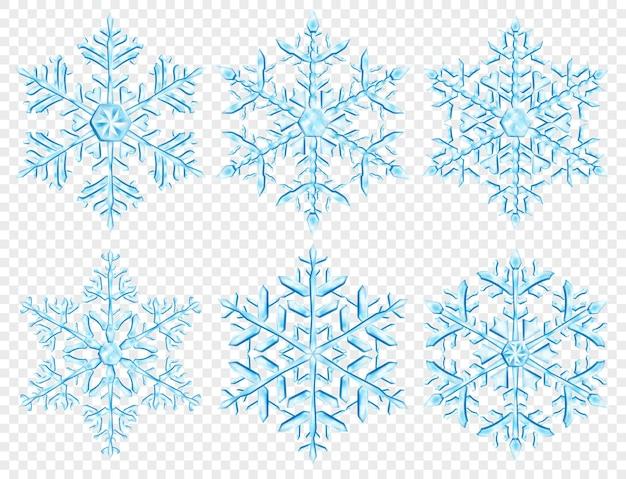 透明な背景で隔離、水色の大きな複雑な半透明のクリスマスの雪片のセットです。ベクトル形式のみの透明度