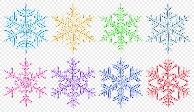 透明な背景に分離された、さまざまな色の大きな複雑な半透明のクリスマスの雪片のセットです。ベクトル形式のみの透明度