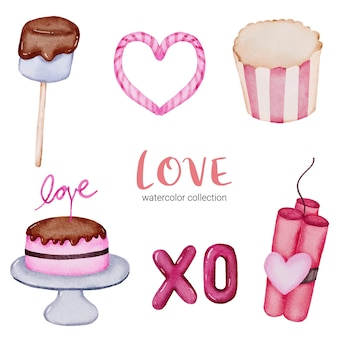 Набор больших изолированных акварель валентина концепции элемент прекрасные романтические красно-розовые сердца для украшения, иллюстрации.