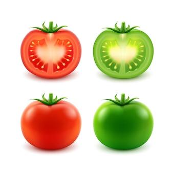 큰 익은 빨간색 녹색 신선한 잘라 전체 토마토 세트