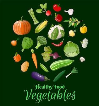 Набор большой овощной значок, изолированные на зеленый