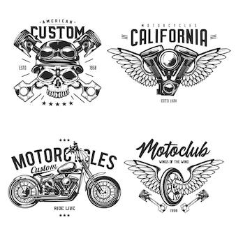 자전거 타는 사람과 오토바이 엠블럼, 라벨, 배지, 로고의 집합입니다. 흰색 절연