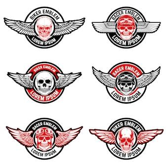 バイカークラブのエンブレムテンプレートのセット。翼を持つ頭蓋骨。ロゴ、ラベル、エンブレム、記号の要素。図