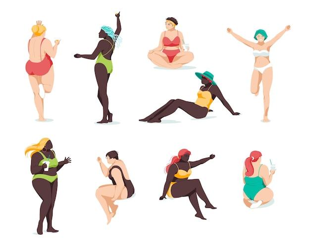 さまざまな人種と体格のビキニの女の子のセットがリラックスします。平らな。ボディポジティブ、プラスサイズ
