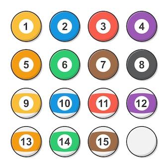 Набор бильярдных шаров. шары для пула или игры в снукер плоский значок