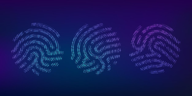 Набор отпечатков пальцев двоичного кода. биометрический идентификатор. цифровой ключ для идентификации программного обеспечения. сканер отпечатков пальцев в футуристической технологической системе. векторная иллюстрация