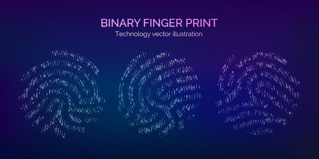 이진 코드 지문 집합입니다. 소프트웨어 식별을 위한 디지털 키입니다. 생체 인식 id. 미래 기술 시스템의 지문 스캐너. 벡터 일러스트 레이 션