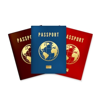 Набор биометрических сине-коричневых и красных обложек для паспортов. документ, удостоверяющий личность с цифровым идентификатором. золотой текстовый паспорт и глобальная карта с микрочипом. изолированные на белом фоне