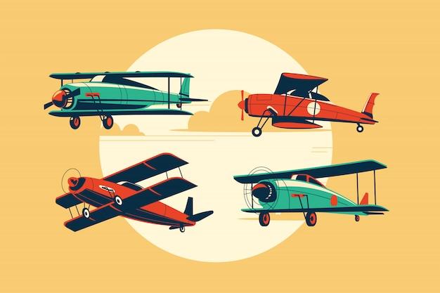 複葉機または航空機アトラクションプレミアムのセット