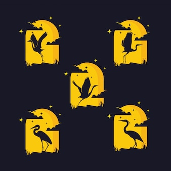 鳥のシルエットのセット