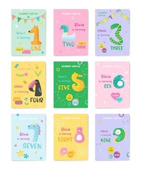 Набор милых открыток ребенка дня рождения с номерами животных, пригласительная открытка, флаер, плакат, поздравительная иллюстрация в векторе
