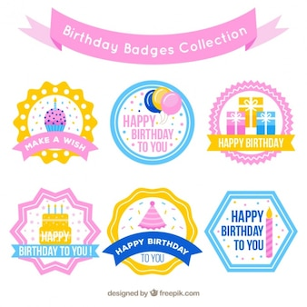 Set of birthday badges in pastel colors