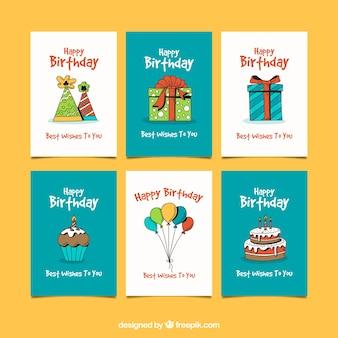 Набор поздравительных открыток в стиле ручной работы