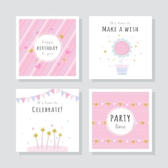 Набор поздравительных открыток с красочными элементами вечеринки