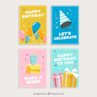 Set of birthday cards with colorful party elements