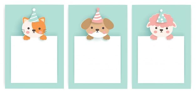 귀여운 동물들과 함께 생일 카드 세트입니다.