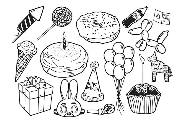 誕生日の落書き要素のセット