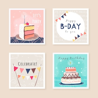 생일 인사말 카드 디자인의 세트