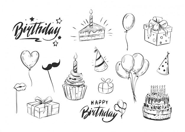 Набор объектов дня рождения. кекс, воздушные шары, подарочная коробка, с днем рождения. надписи