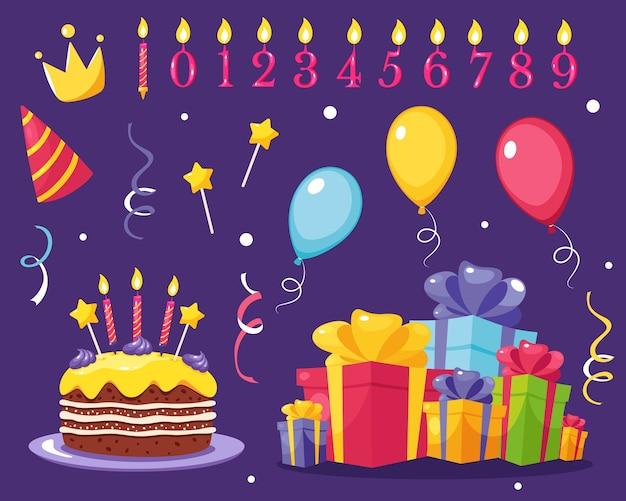 誕生日パーティーのデザイン要素のセット