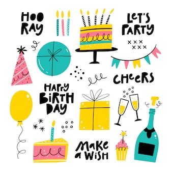 Набор объектов вечеринки по случаю дня рождения. украшение для вечеринок, подарочные коробки, воздушный шар, торт со свечами, кекс, праздничные шляпы, надписи. векторная иллюстрация