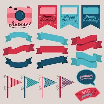 Набор элементов альбома для вырезок на день рождения